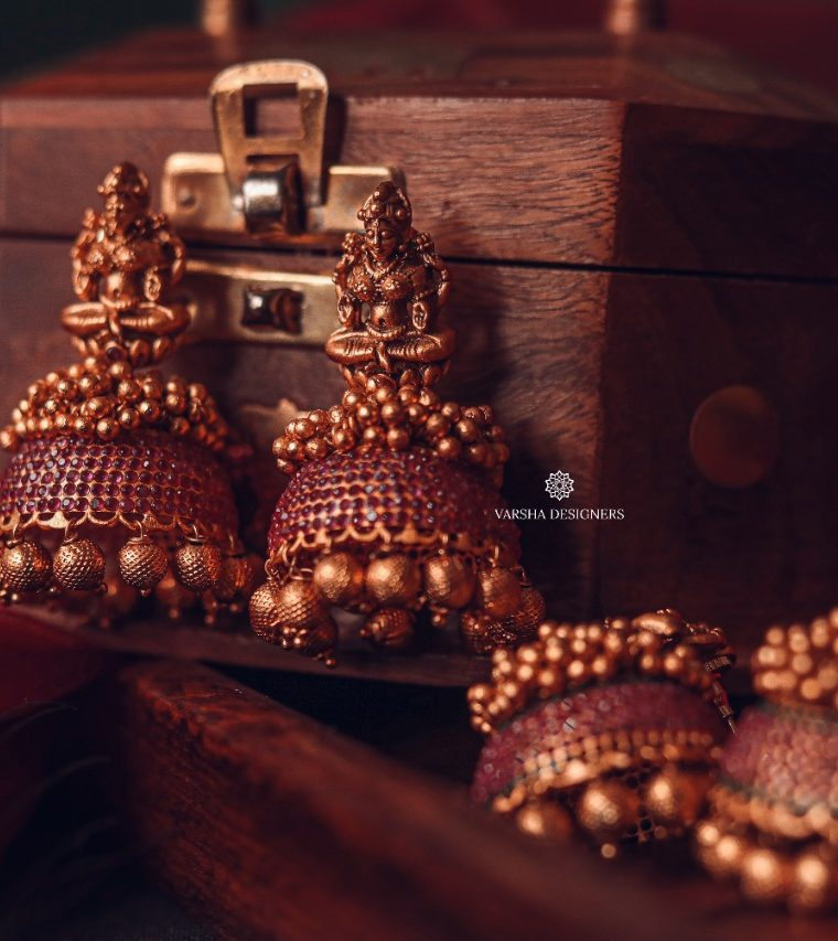 Traditional Matte Finish Deep Ruby Stone Jhumkas-01