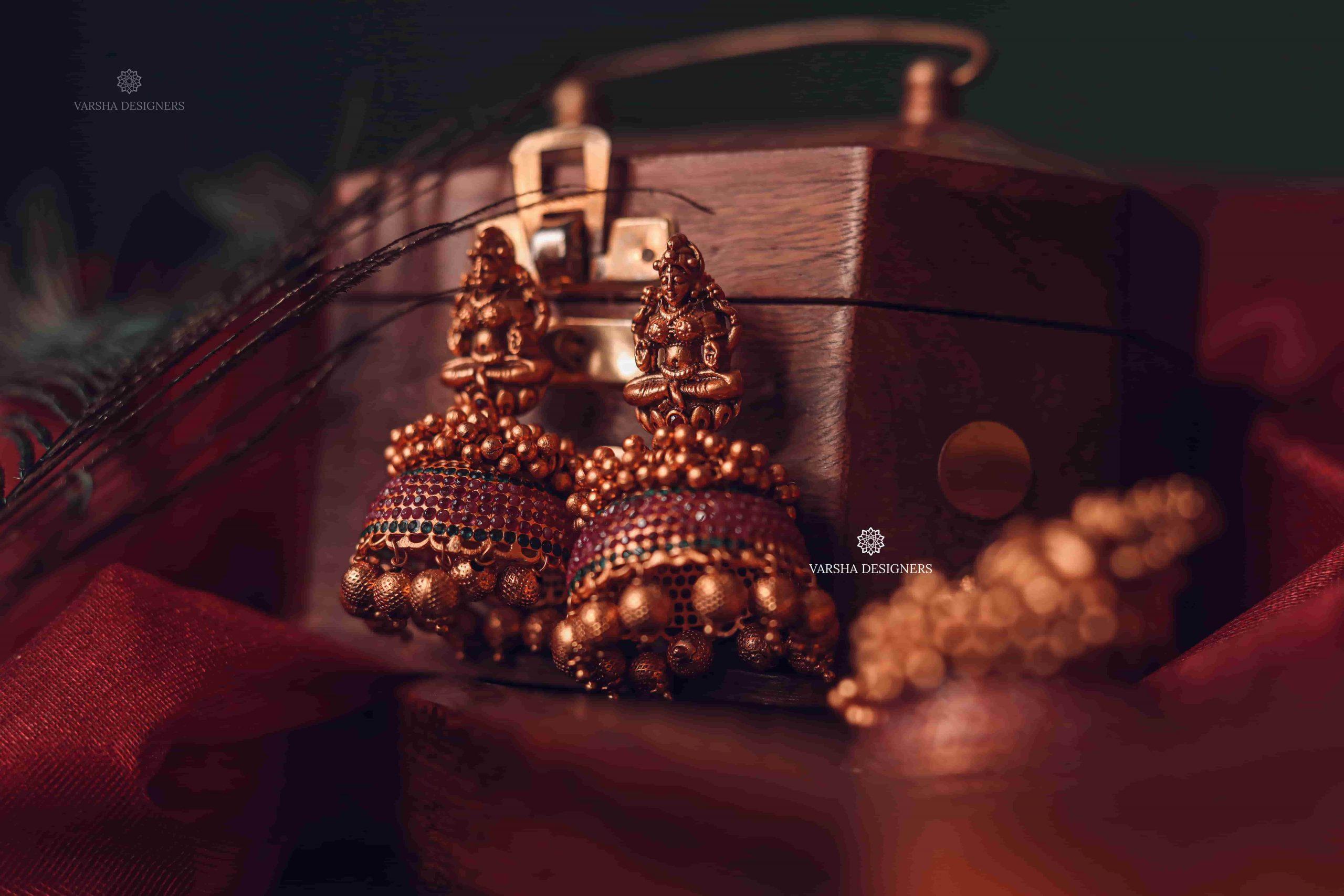 Traditional Matte Finish Deep Ruby Stone Jhumkas-02