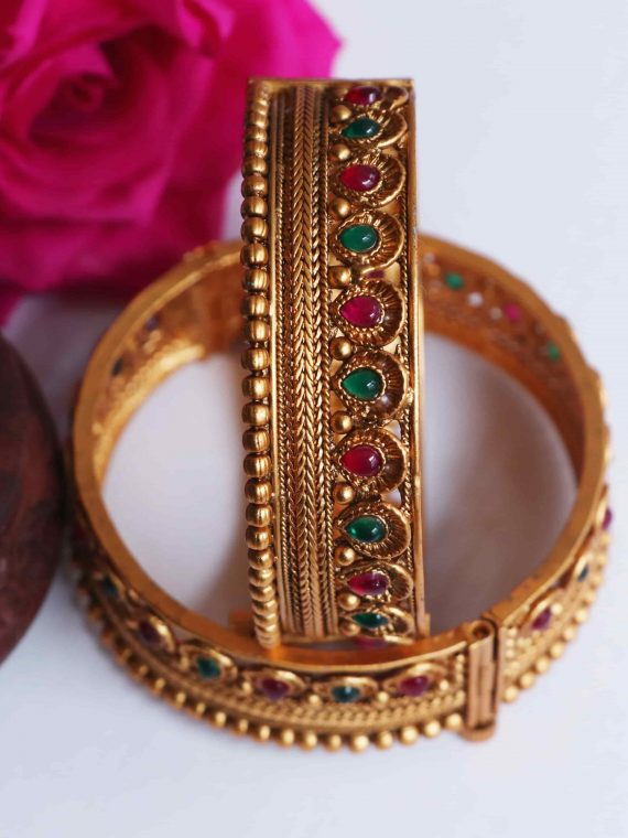 Traditional Ruby & Green Stone Matte Finish Bangles-02