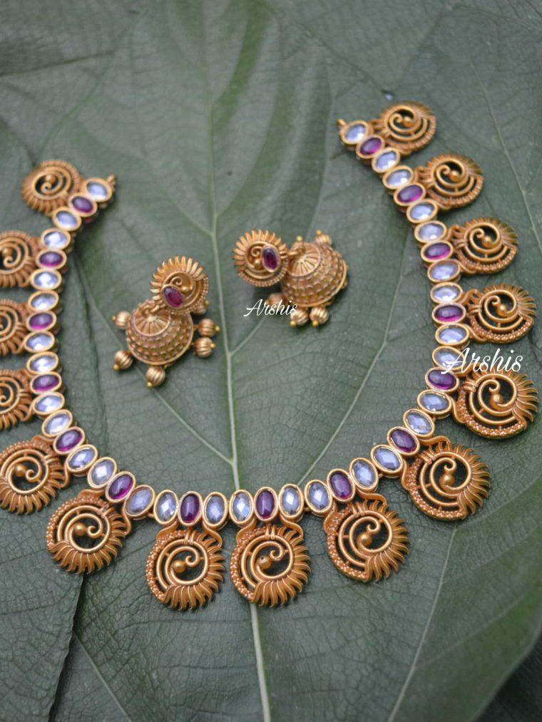 Unique Peacock Design AD Stone Necklace-01