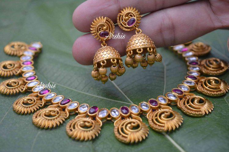 Unique Peacock Design AD Stone Necklace-02