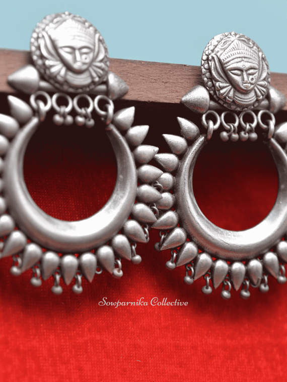 Goddess Durga German Silver Earrings