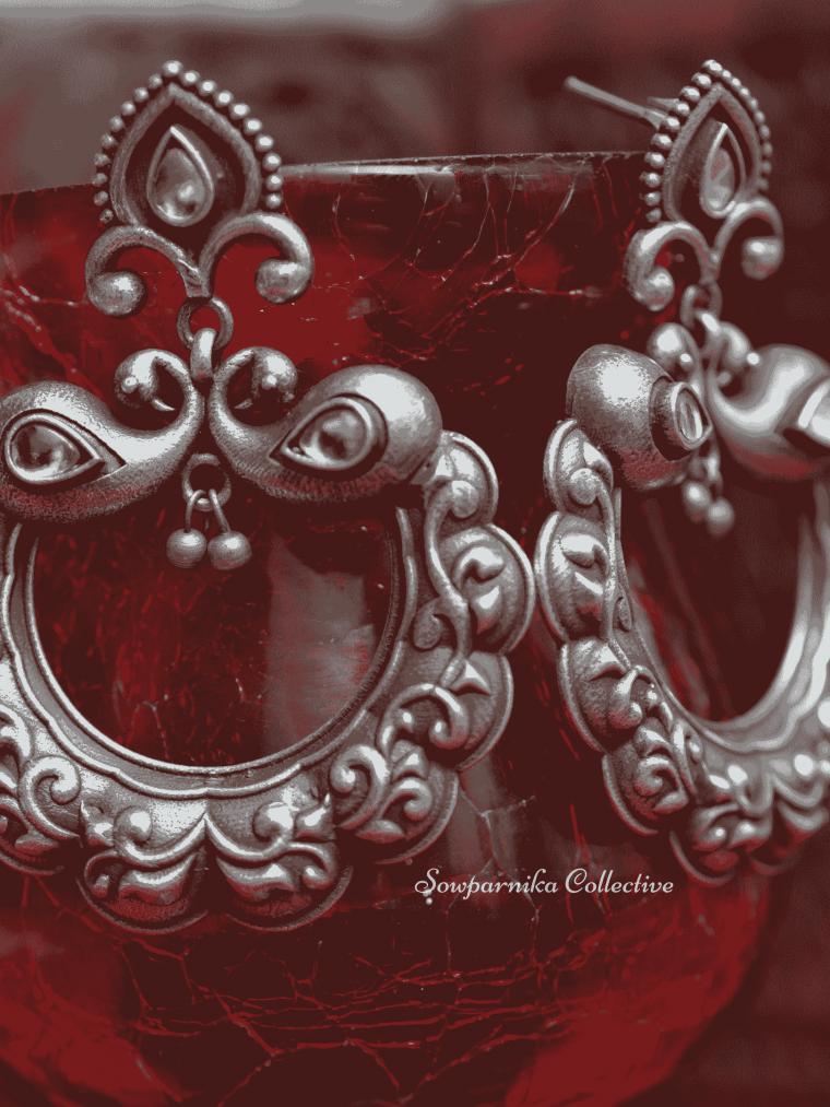 German Silver Chandbali Design Earrings, chandbali earrings, German silver earrings