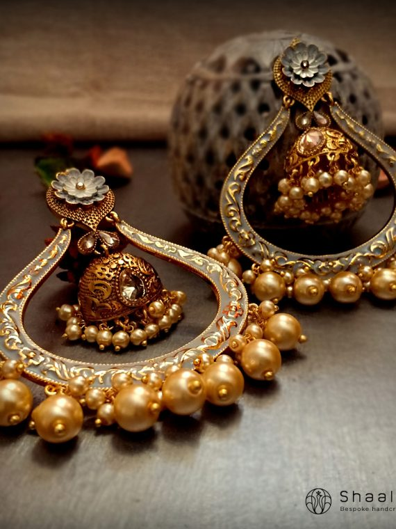 Premium Embosed Grey Gold Chandbali Earrings-01