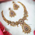 AD Matte Flower Design Short Necklace (3)