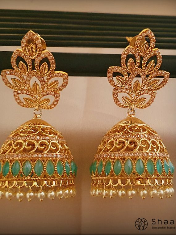 AD Studded Sea Green Jhumka-01