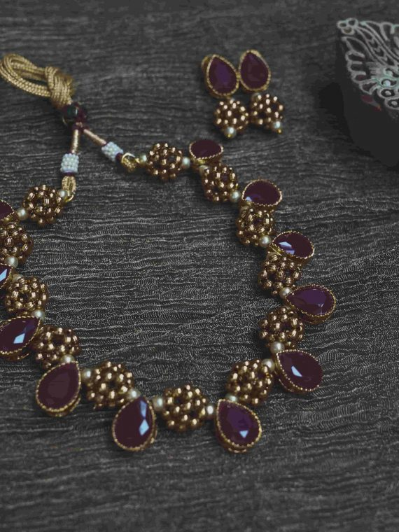 Adorable Antique Ruby Teardrop Necklace-01