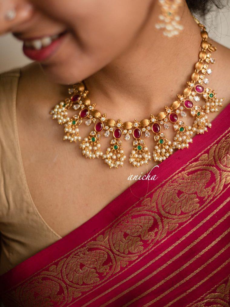 Adorable Ruby Oval Guttapusalu Necklace-04