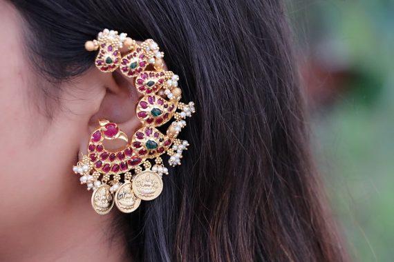 Alluring Peacock Designer Ear Cuff Earrings-02