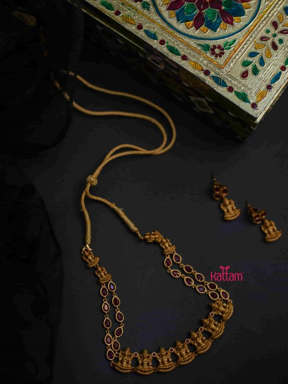 Antique Finish Goddess Lakshmi Ruby Necklace-01