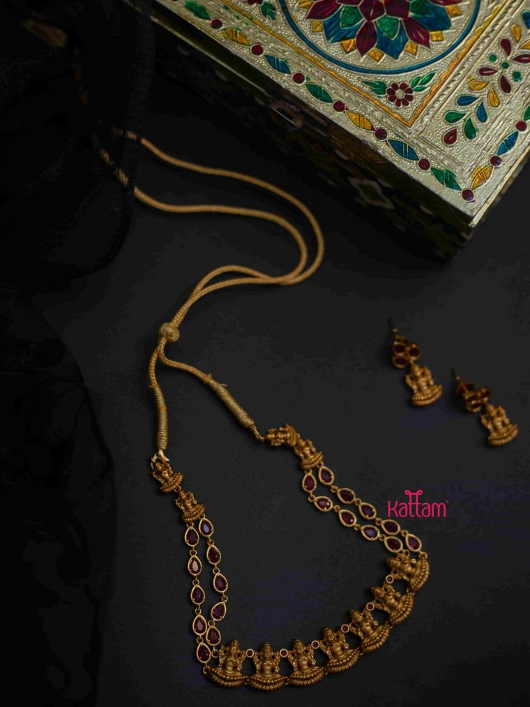 Antique Finish Goddess Lakshmi Ruby Necklace-01