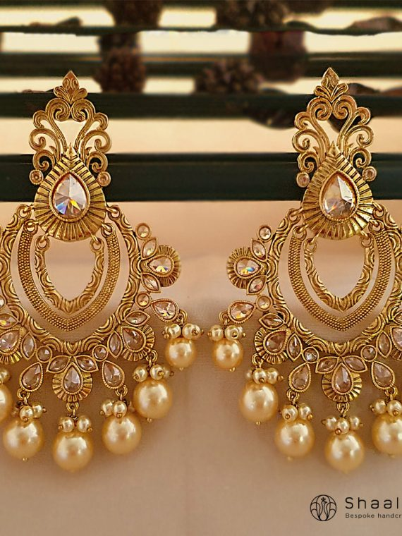 Antique Finish Layered Chandbali Earrings-01