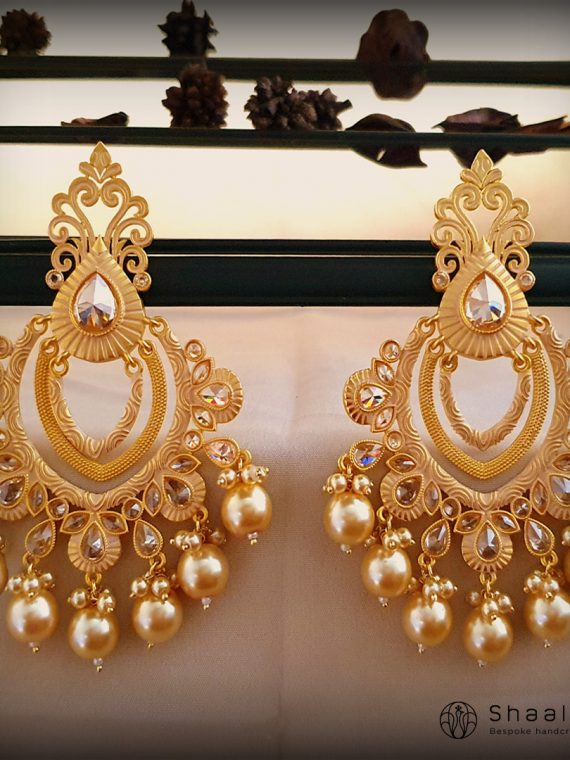 Antique Finish Layered Chandbali Earrings-02