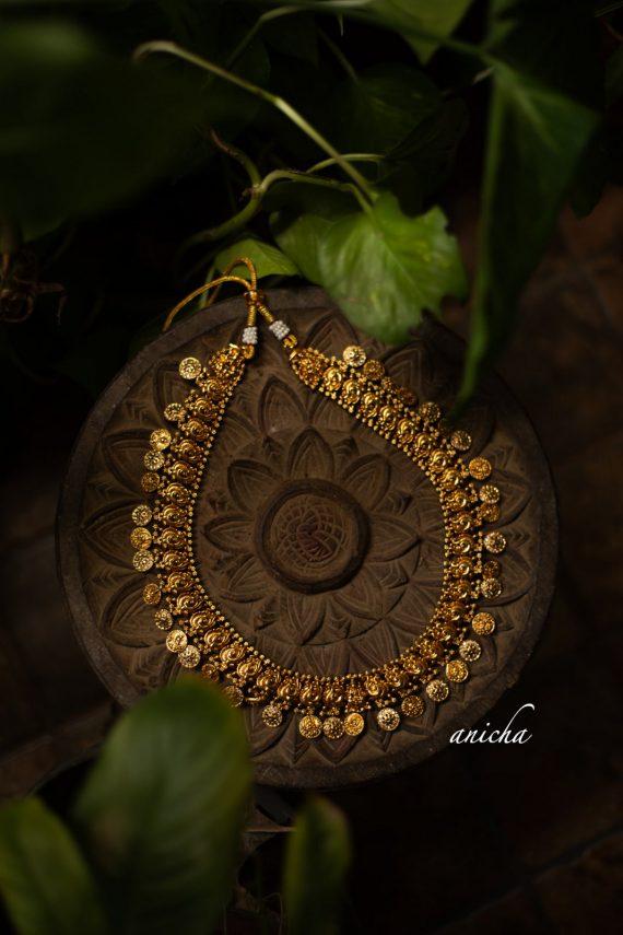 Antique Finish Temple Coin Motif Haram -03