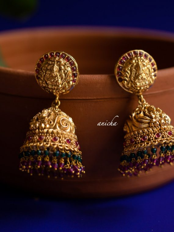 Antique Ruby Green Beads Temple Jhumkas-02