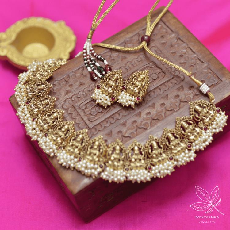 Beautiful Maha Lakshmi Pearl Cluster High Neck Choker-01