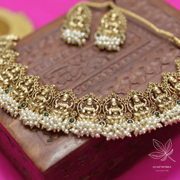 Beautiful Maha Lakshmi Pearl Cluster High Neck Choker-02