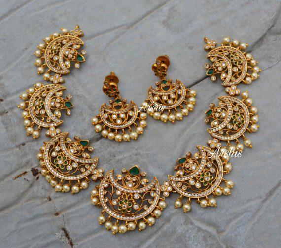 Beautiful Moon Design Chandbali Necklace-01