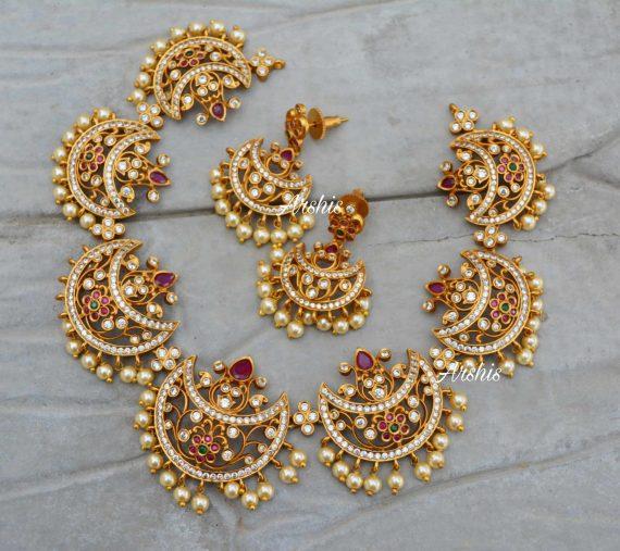 Beautiful Moon Design Chandbali Necklace-03