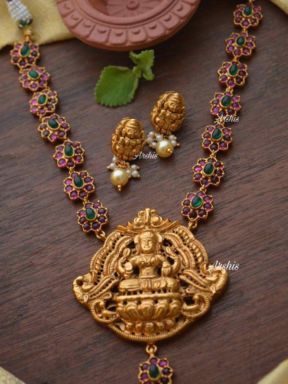 Beautiful Real Kemp & Green Lakshmi Nagas Pendant Necklace-01