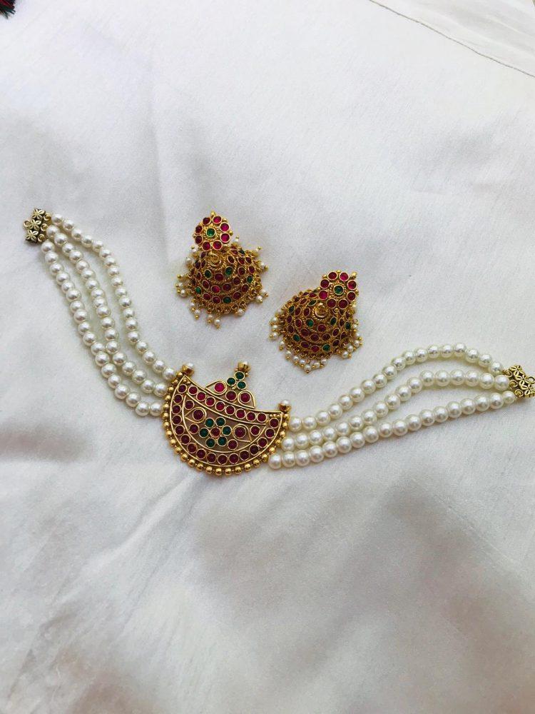 Beautiful White Beads Half Moon Choker-01