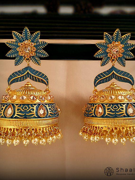 Bell Design Matte Gold Jhumkas-01