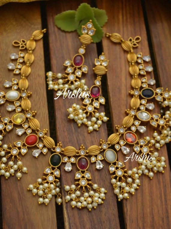 Best Quality Navarathna Matt Guttapusalu Necklace-01