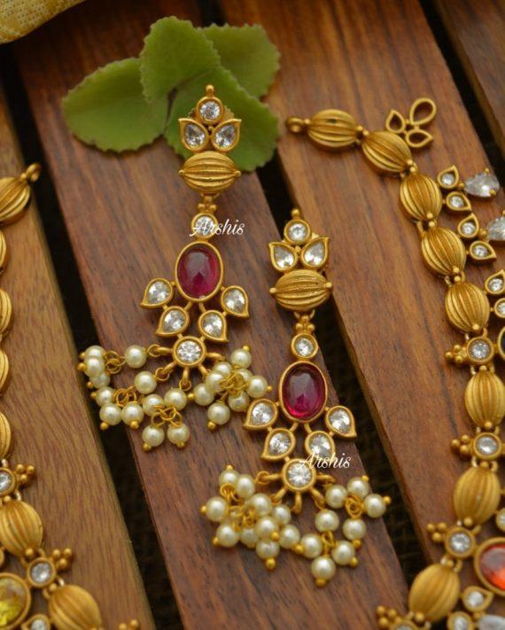 Best Quality Navarathna Matt Guttapusalu Necklace-03