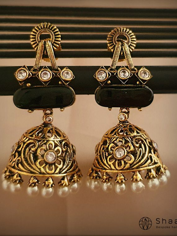 Black Polished Stone Studded Jhumkas-01