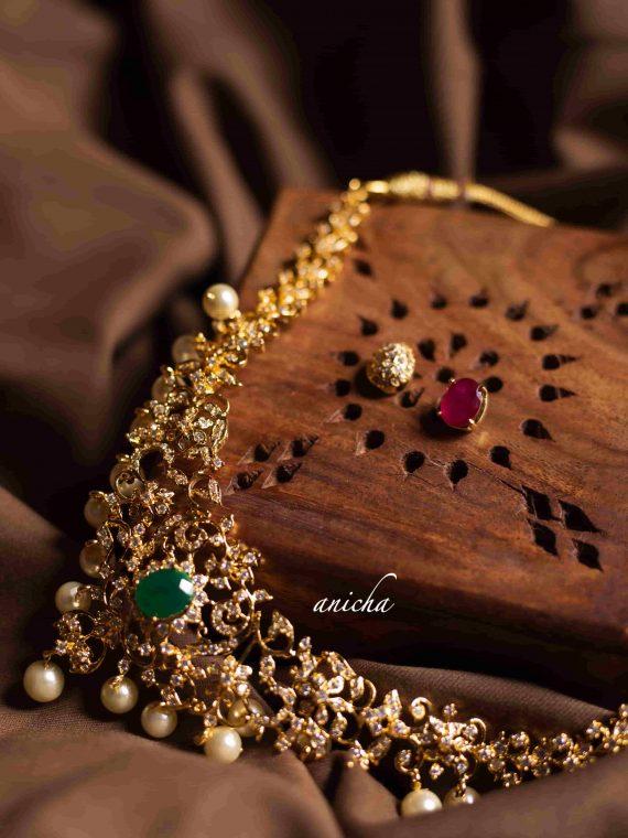 Designer AD Petal Interchangeable Stones Necklace-01