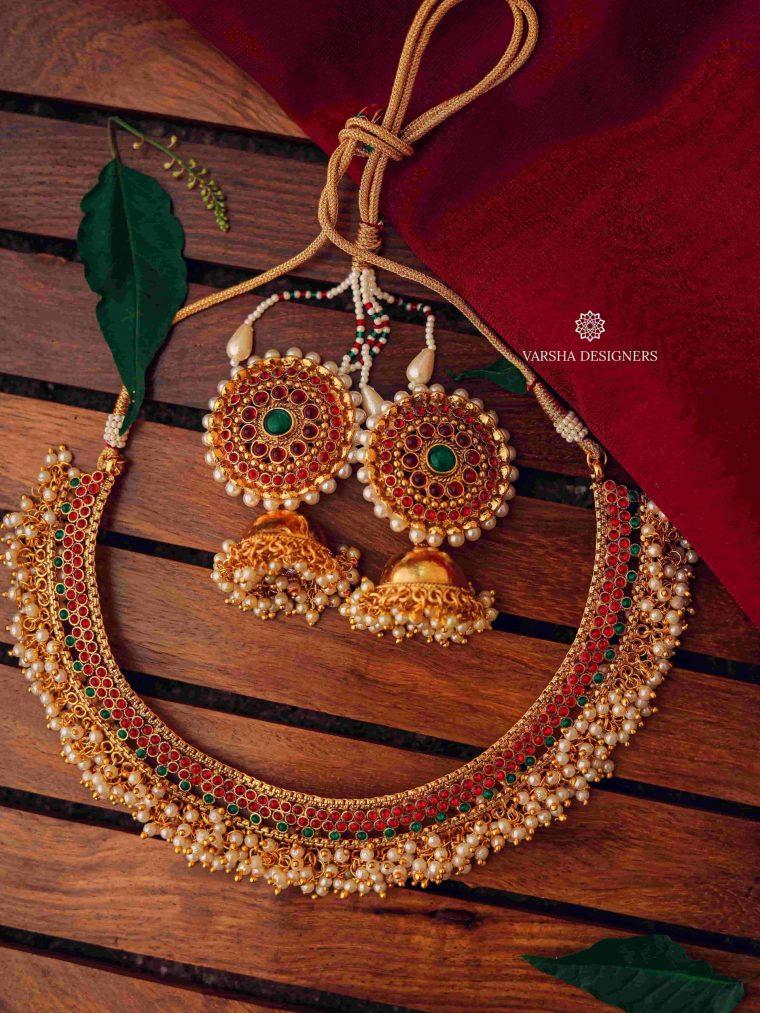 Designer Cluster Pearl Necklace-01