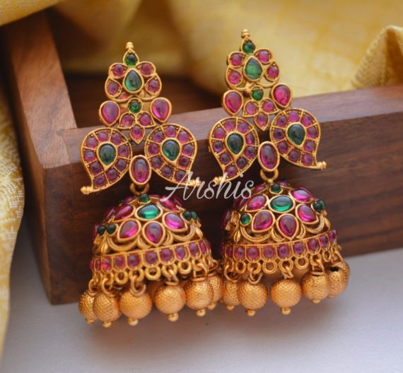 Designer Matte Finish Gold Bead Drops Jhumkas-01