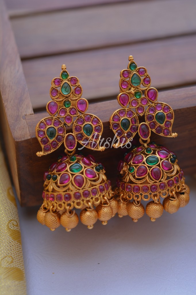 Designer Matte Finish Gold Bead Drops Jhumkas-02