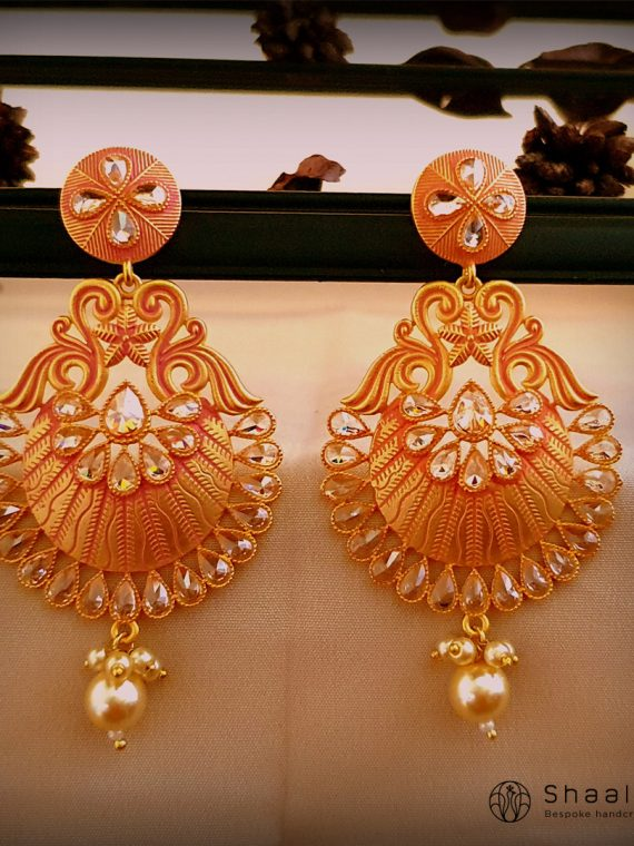 Designer Peach and Gold Combination Earrings-01
