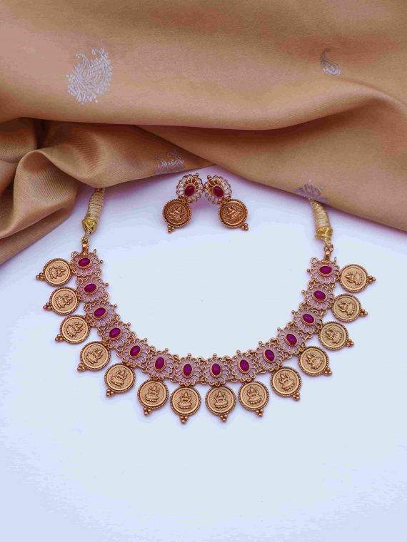 Elegant Matte Finish Lakshmi Coin Necklace-01