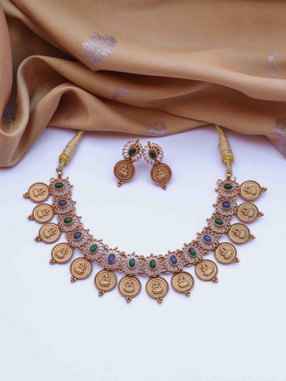 Elegant Matte Finish Lakshmi Coin Necklace-02