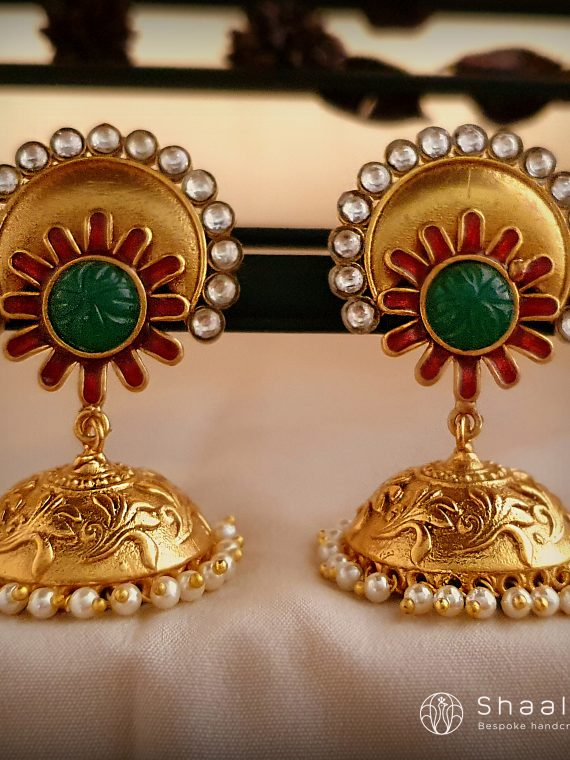 Engraved Maroon & Green Jhumka-01
