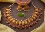 Flower Design Kemp & Green Stone Lakshmi Nagas Necklace-01
