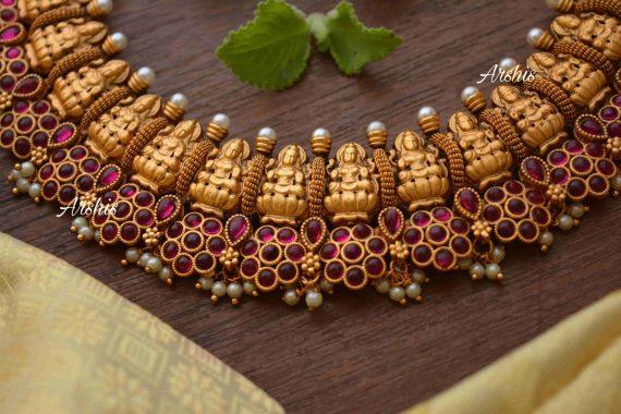Flower Design Kemp & Green Stone Lakshmi Nagas Necklace-02
