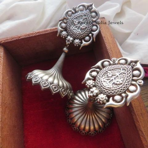 German Silver Jumbo Minor Design Earrings