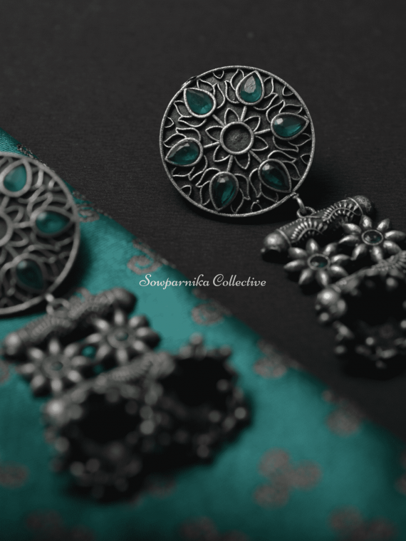 German Silver Red & Green Double Jhumka-01