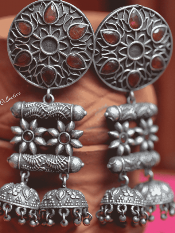 German Silver Red & Green Double Jhumka-02