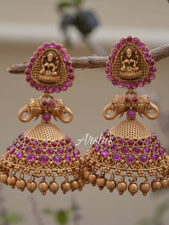 Gold Beads Temple Lakshmi Jhumkas-01