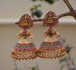 Gold Beads Temple Lakshmi Jhumkas-02