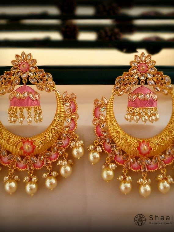 Gold Plated Lotus Flower Design Chandbali Earrings-01