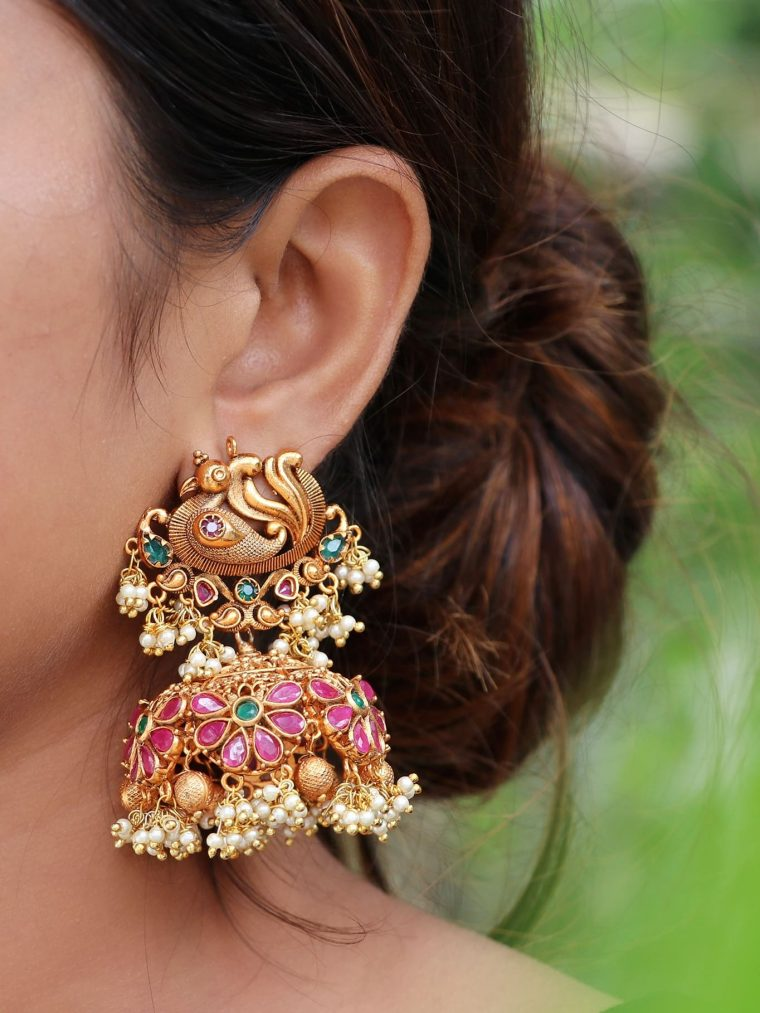 Gorgeous Big Peacock Statement Jhumkas-01