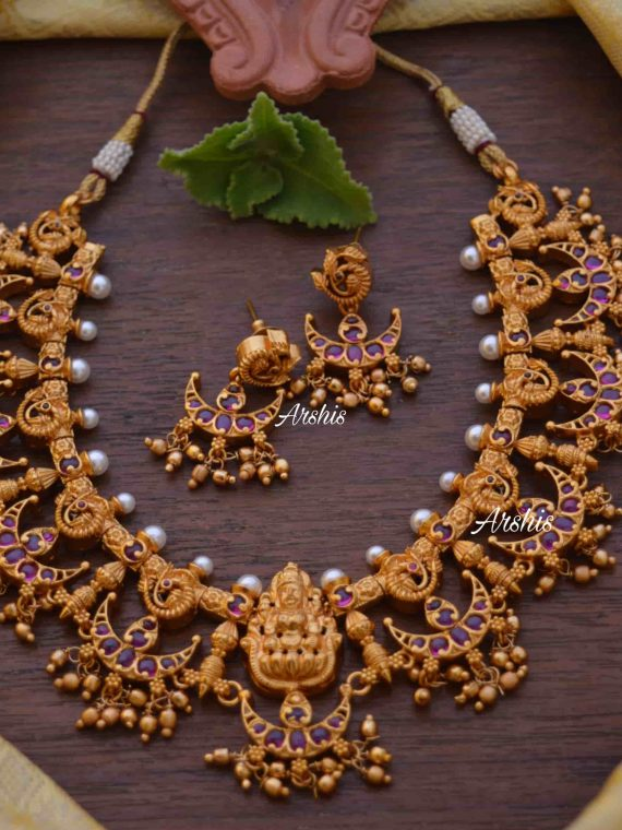 Gorgeous Chandbali Design Lakshmi Necklace-01