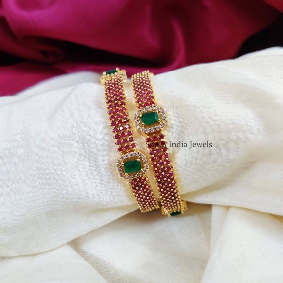 Gorgeous Gold Look alike Pink & Green Stones (2)