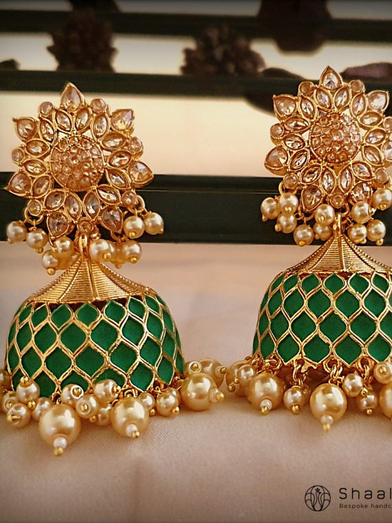 Gorgeous Green Meenakari Jhumkas-01