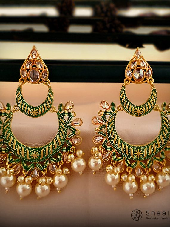 Gorgeous Hand Painted Layered Chandbali Earrings-01